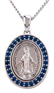 80ae211dff3 N247 - Medalla Milagrosa de plata esterlina y piedras azules