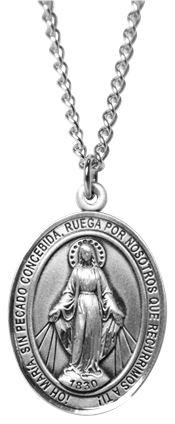 ab3137347d6 NL11 - Medalla Milagrosa pequeña de plata fina con cadena
